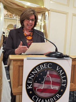 Nancy Marshall, The PR Maven™, presenting at the Kennebec Valley Chamber