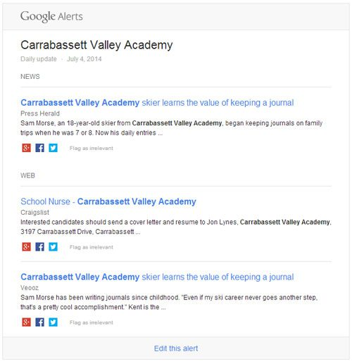 This is an example of a Google Alert for our client Carrabassett Valley Academy.