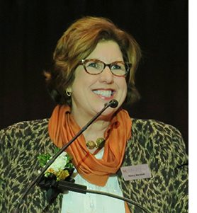 Nancy Marshall accepting Kennebec Chamber Presidents Award