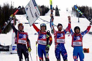 Snowmass podium, World Pro Ski Tour. Photo credit Kei Kullberg